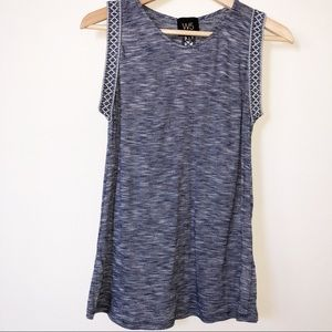 W5 Blue And White Sleeveless Embroidered TrimTop S